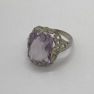 Jewelry - Classic Antique White Gold 4 Carat Amethyst Ring 5
